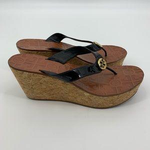 Tory Burch Thora Wedge Black Patent Thong Sandal